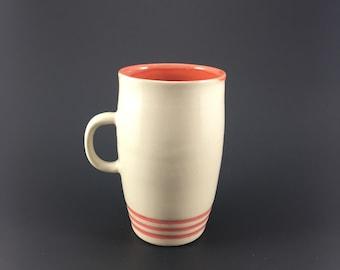 Pottery Mug Red Stripe