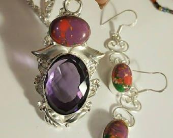 Lab Created Amethyst Pendant with Purple Mosaic Jasper; Matching Jasper Earrings, all in fine 925 silver