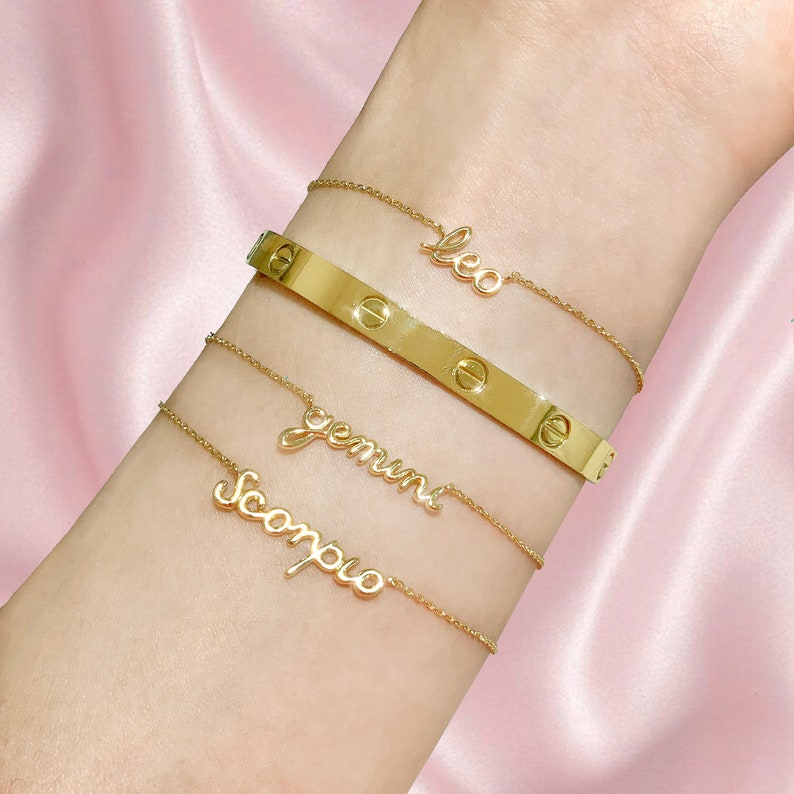 Minimal Bracelet Gold Script Bracelet Aquarius Script Bracelet Gold Cursive Bracelet Zodiac Bracelet Horoscope Bracelet