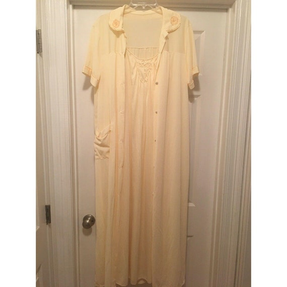 Peignoir Set Buttery Yellow Robe and Gown Geometri