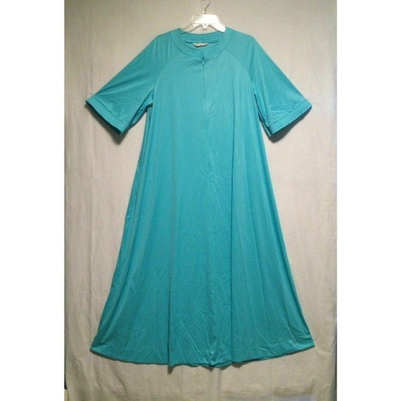 Vanity Fair Housecoat Aqua Blue Nehru Neck Large Z