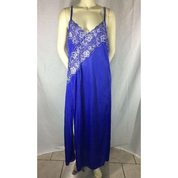 Plus Size XXL Plunge Neck and Back Royal Blue Nightgown Pygamas Slip Dress Vintage