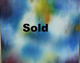 Colors of Summer Original Abstract Painting by Elizabeth Armstrong-Blue-Orange-Contemporary Nursery-Modern Wall Art