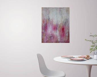 Original-Blushing-Pink and Gold- Petal Pink Abstract Painting by Elizabeth Armstrong-Minimalist-Modern-Gray-White-Crimson-Office-Bedroom