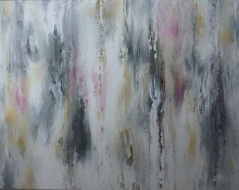 Abstract Impasto Painting by Elizabeth Armstrong-Wall Art-Large-Gray-White-Pink-Yellow-Modern-Contemporary-Acrylic on Canvas