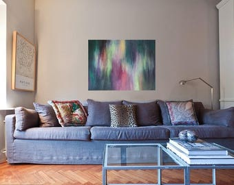 Teal and Fuchsia Original Abstract Painting by Elizabeth Armstrong-Acrylic on Canvas-Modern-Minimalist-Contemporary-Fine Art