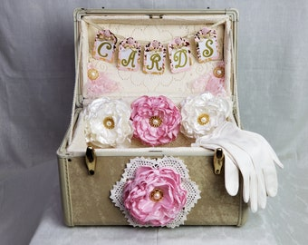 Vintage Suitcase Wedding card holder with hand made fabric flowers