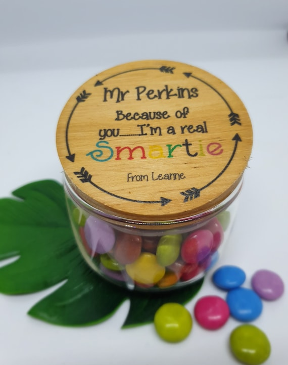 Personalised Teacher Lolly Jar Gift DECAL ONLY Thanks for your Encourage Mint