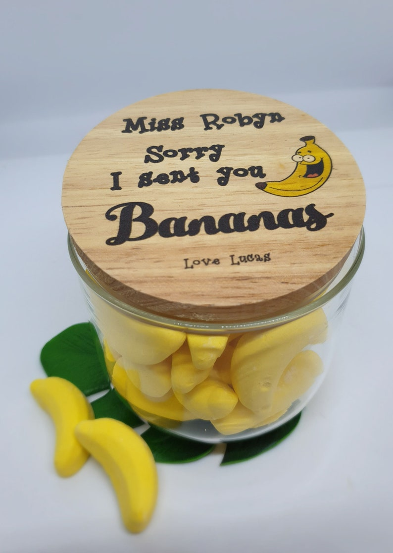 Teacher POSTAGE bananas lolly jar image 0
