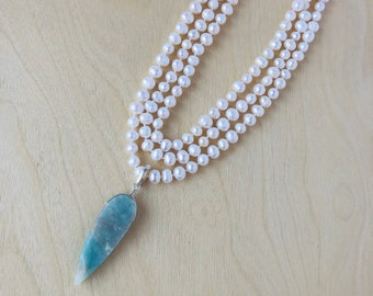 Long Transformable Pearl Strand and Amazonite Pendant