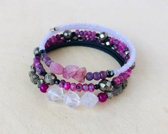 Pink Gemstone Bangle Stack
