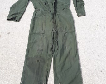 61981dc7c891 Vintage Army Green Coveralls Overalls Workwear Patched