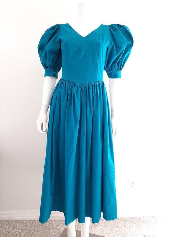 Vintage Laura Ashley Aqua Emerald Puffed Sleeve Pr