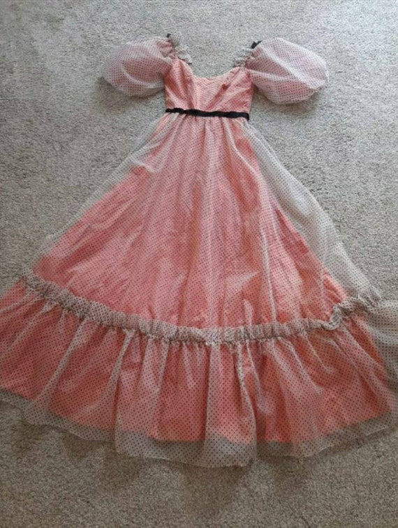 Vintage Polka Dot Prairie Princess Dress Puff Sle… - image 6