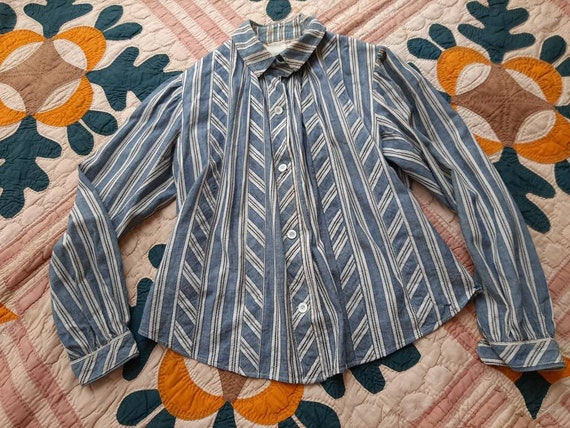 Antique Edwardian Blue Chambray Calico Stripe Farm
