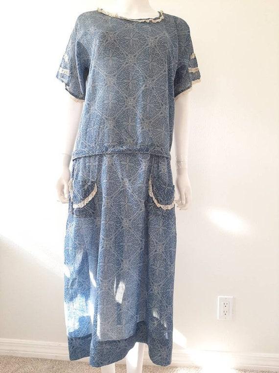 Antique 1920s 1930s Dustbowl Calico Blue Cotton D… - image 2