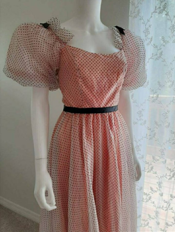 Vintage Polka Dot Prairie Princess Dress Puff Sle… - image 3