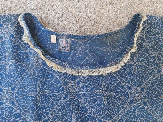 Antique 1920s 1930s Dustbowl Calico Blue Cotton D… - image 8
