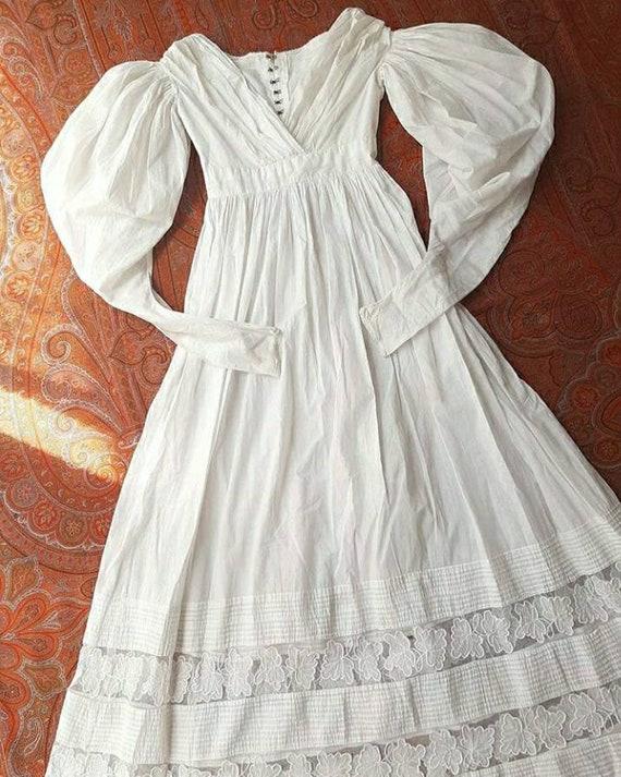 SOLD Rare Antique 1830's Regency Era White Cotton