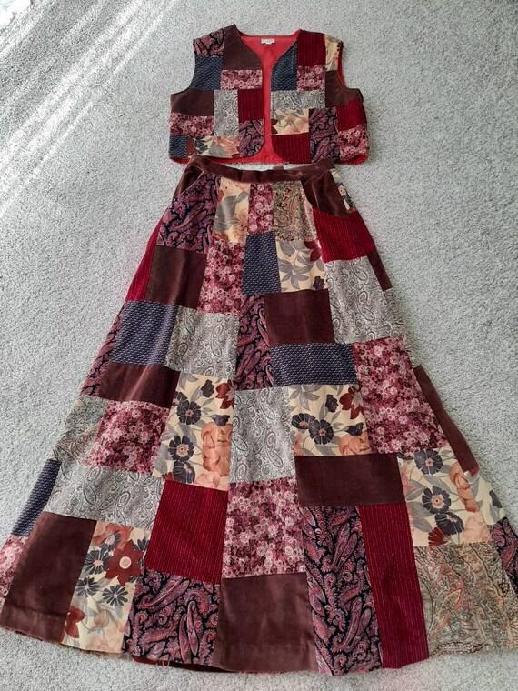 Vintage 1970's Appalachian Craftsmen Velvet Patchw