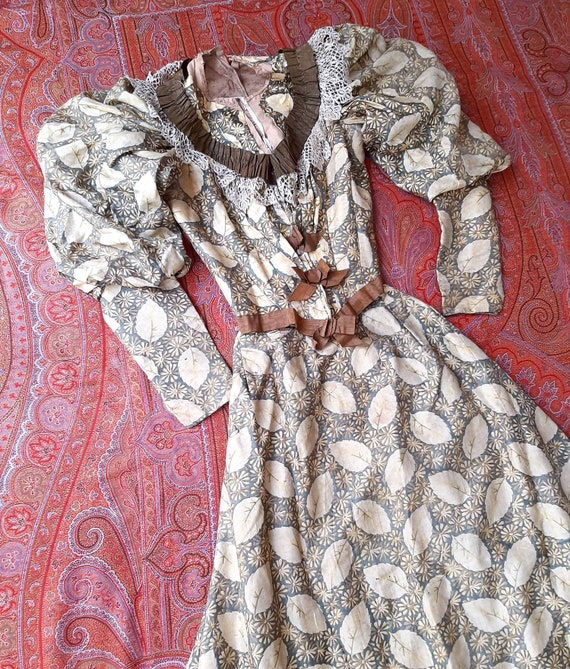 Antique Victorian Edwardian 1900 Autumn Leaf Silk