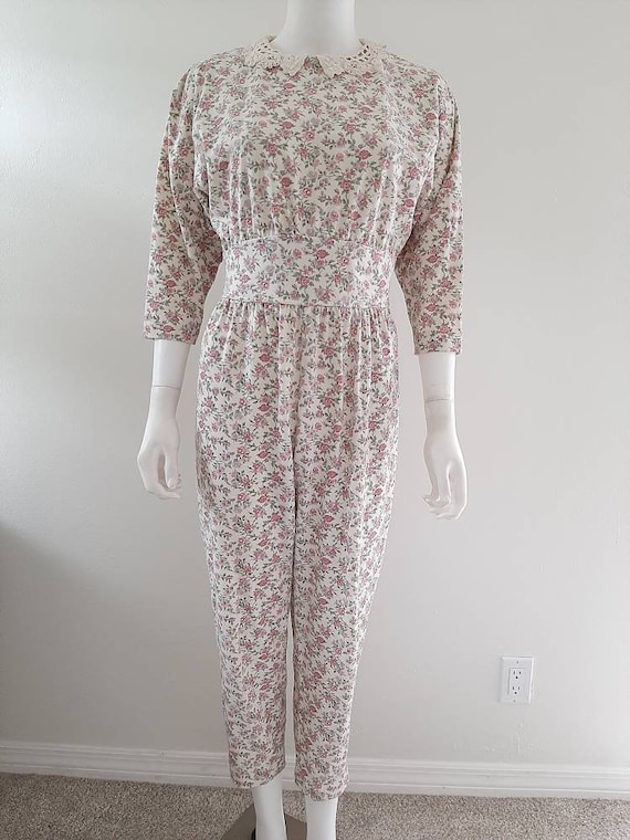 Vintage 1980's Cotton Calico Rose Jumpsuit Cottage