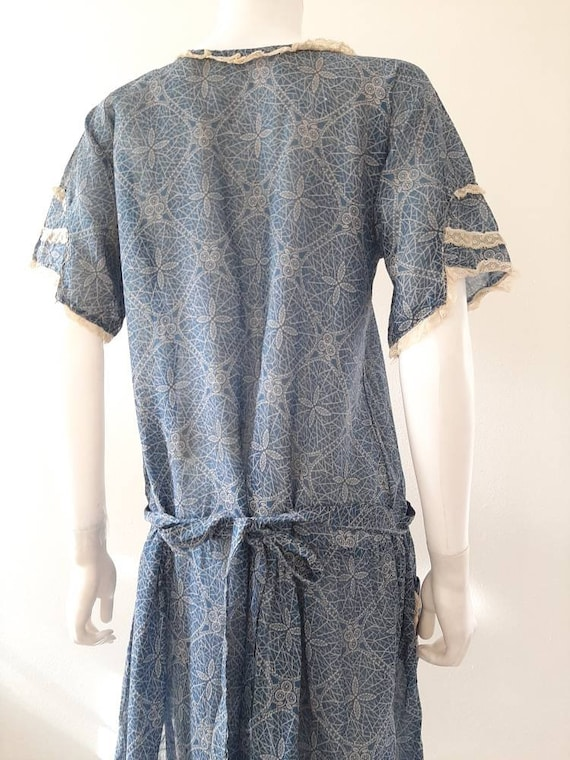 Antique 1920s 1930s Dustbowl Calico Blue Cotton D… - image 4