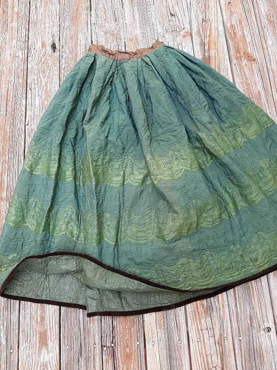 Antique Victorian 1800s Seagreen Quilted Silk Pett