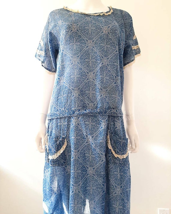 Antique 1920s 1930s Dustbowl Calico Blue Cotton Da