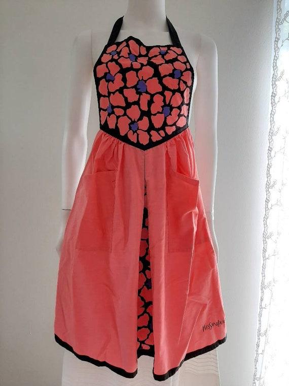 Vintage YSL Japan Apron Association Pink Floral Co