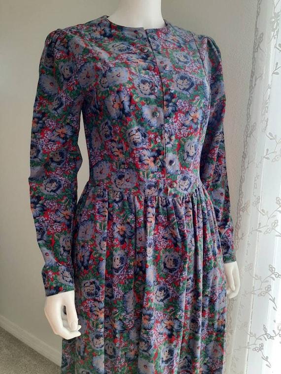 Vintage Laura Ashley Corduroy Flower Dress