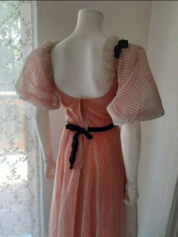 Vintage Polka Dot Prairie Princess Dress Puff Sle… - image 5