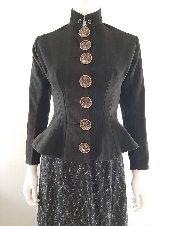 Antique 1800s Victorian Nipped Waist Wool Jacket A