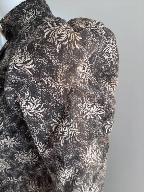 Rare Antique Victorian 1900 Gothic Calico Wrapper… - image 8