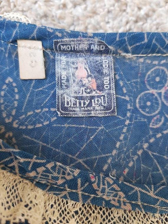 Antique 1920s 1930s Dustbowl Calico Blue Cotton D… - image 6