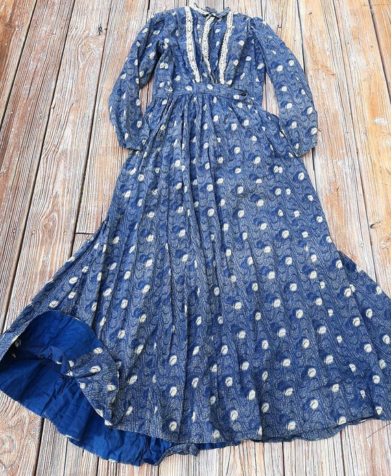 Rare Antique 1880 Victorian Indigo Blue Calico Cot