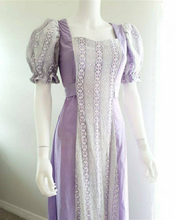 Vintage 1970's Puff Sleeve Prairie Dress Romantic