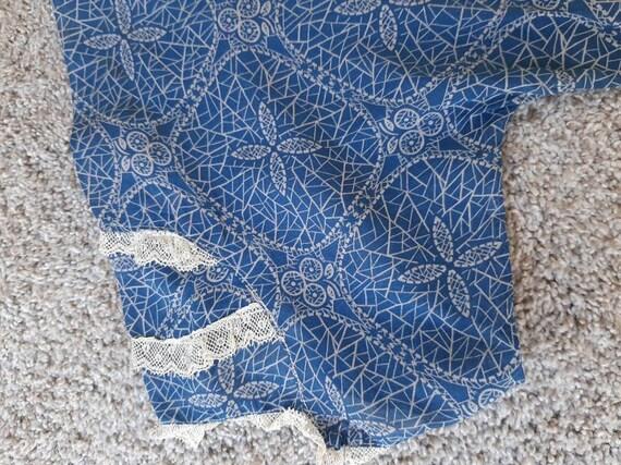 Antique 1920s 1930s Dustbowl Calico Blue Cotton D… - image 7