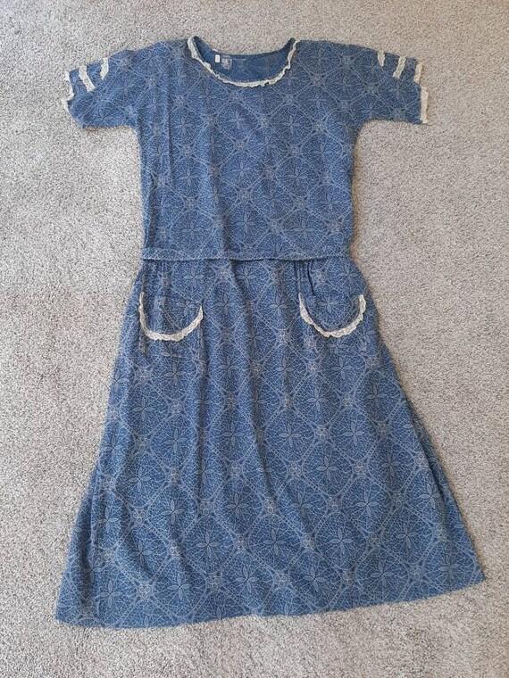 Antique 1920s 1930s Dustbowl Calico Blue Cotton D… - image 3