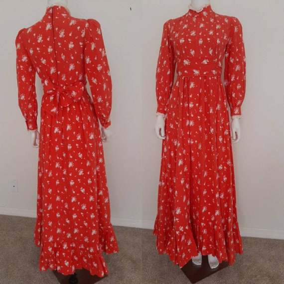 Vintage Laura Ashley Made in Wales Red Calico Prai