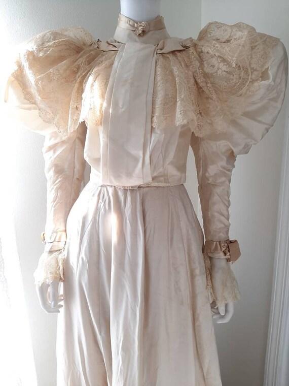 Rare Antique Victorian 1890s Cream Silk Lace Weddi
