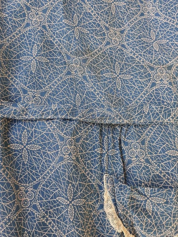 Antique 1920s 1930s Dustbowl Calico Blue Cotton D… - image 9