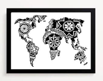 World Map Hand Drawn Printable Mandala Design Black And White Artwork Digital Downloadable Print