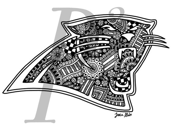 picture relating to Carolina Panthers Printable Logo referred to as Carolina Panthers Brand Hand Drawn Printable Black and White Athletics Workers Emblem NFL Soccer Electronic Downloadable Art Print