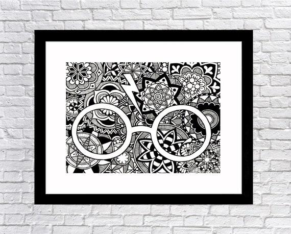 Harry Potter Full Page Glasses Hand Drawn Print Mandala And Etsy