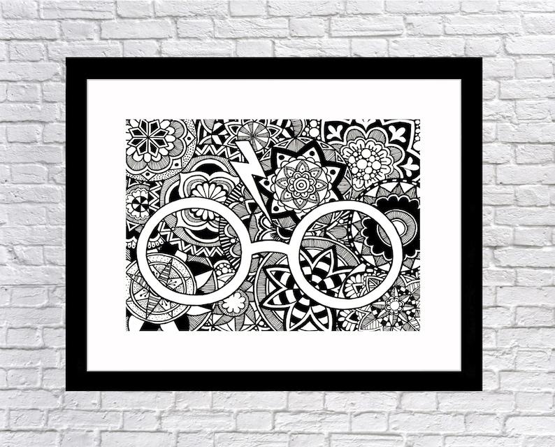 e00a230c11b3 Harry Potter Full Page Glasses Hand Drawn Print Mandala and