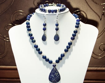 Necklace, Bracelet and Earring Set - Lapis Lazuli and Sterling Silver