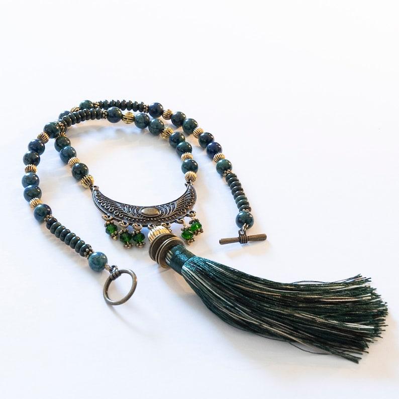 Bronze Crescent Connector with Dark Jasper and Azurite Beads Necklace