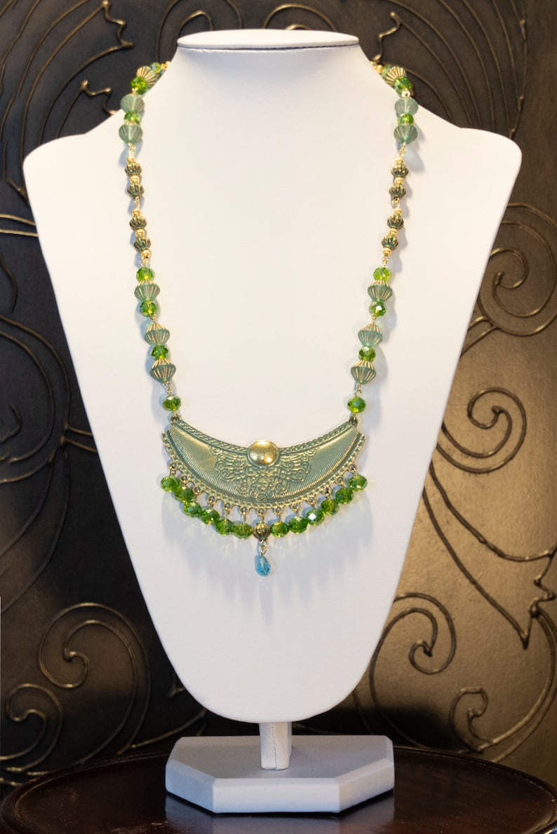 Antique Blue Verdigris Crescent Patina Pendant with Green and Aqua Faceted Crystal Beads Necklace