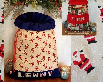 Personalised Large Boys Handmade Santa Sack with Frill Christmas Sweaters with Royal Blue FrillBase Designer Print BodyName